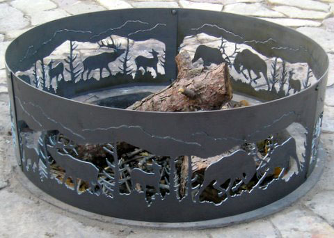 Decorative Fighting Elk Fire Ring