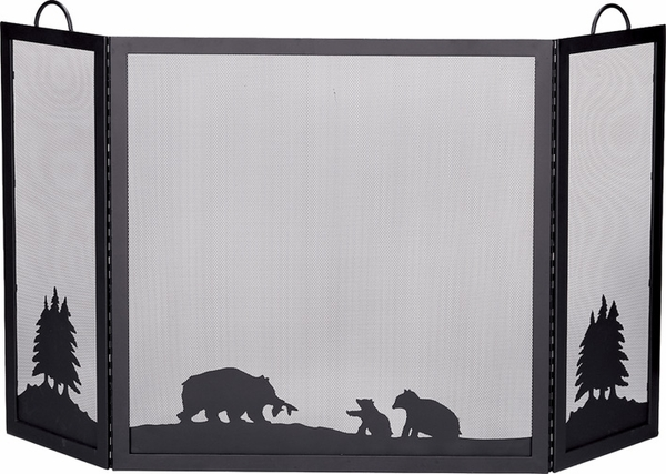 deluxe black three panel wrought iron fireplace screen