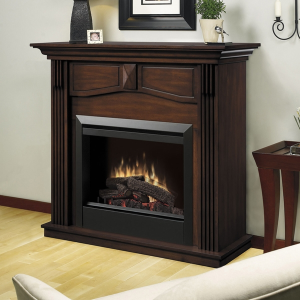 DFP4765BW Holbrook Electric Fireplace and Mantel with Log Set