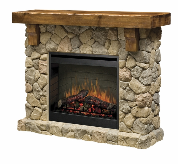 SMP-904-ST Fieldstone Electric Fireplace and Mantel with the ...