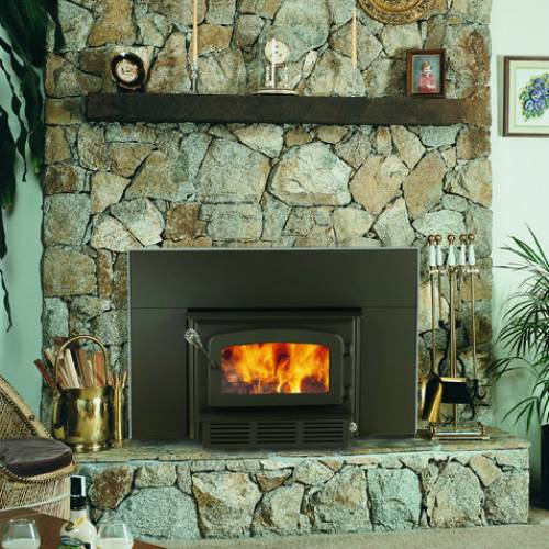 Drolet Escape 1400 Wood Burning Fireplace Insert W Blower Included - DB03120 The included ultra-quiet