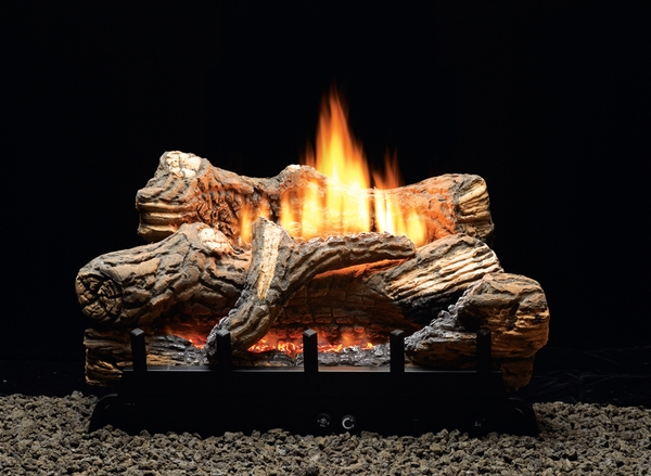 Empire 18 Flint Hill Ceramic Fiber Ventless Natural Gas Log Set And Millivolt Contour Burner