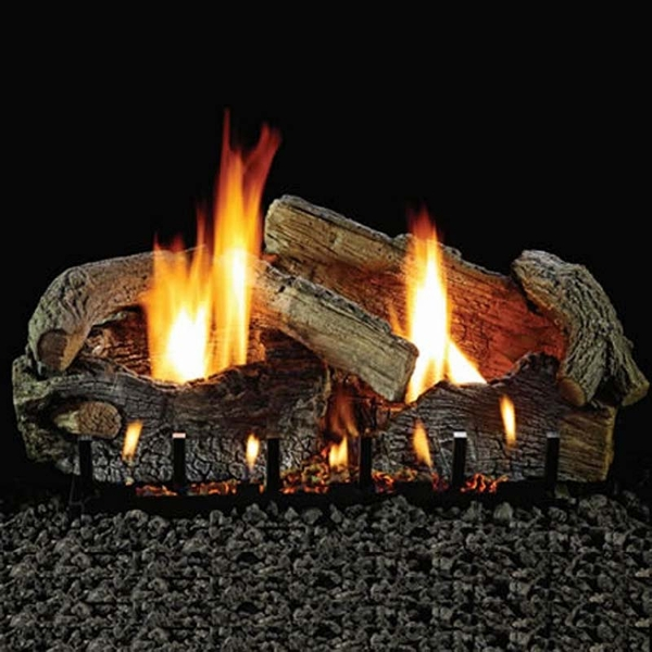 Empire 18 Stacked Aged Oak Refractory Vented Propane Gas Logs Set And Millivolt Remote Control