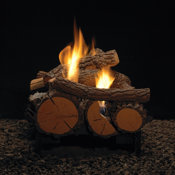 Empire 30 Multi Sided Rock Creek Refractory Ventless Propane Gas Log Set And Intermittent Slope