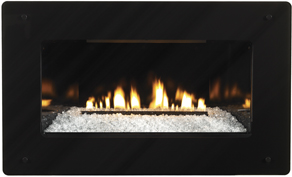 DF-20-GBL Decorative Tempered Glass Fireplace Front with Black Border