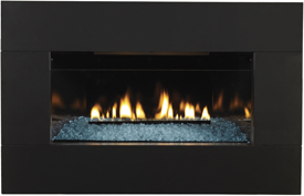 DF 20 MBL Decorative Glass Fireplace Front with Black Metal Frame