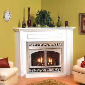 Empire Embc2s Corner Wooden Mantel Cabinet With Base For 36 Inch Tahoe Deluxe Direct Vent Gas