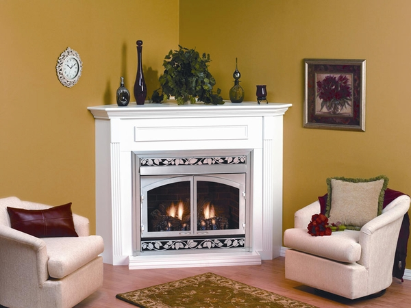 Empire Emc22 Corner Wooden Mantel Cabinet With Base For 24 Vail