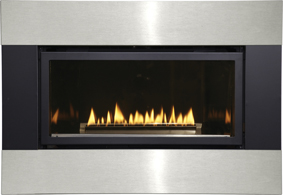 Empire Matte Black And Stainless Steel Fireplace Surround For Medium Loft Direct Vent Gas