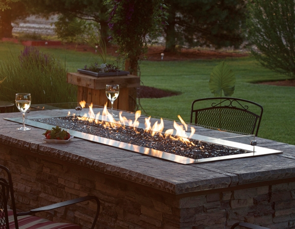 - Empire Outdoor Linear Carol Rose 48-inch Stainless Steel Fire Pit