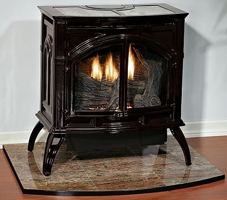 Empire VFP30CA30 Heritage Vent-Free Cast Iron Gas Stove with Porcelain Finish - Natural Gas - VFD-30-CC30BN This elegant cast iron gas stove has a stylish design with a hint of vintage inspiration. This gas stove stands alone with no venting or chimney required. A six-piece ceramic log set with realistic details