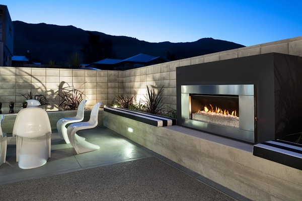 EF5000 Outdoor Gas Fireplace with Ferro Stainless Steel Front