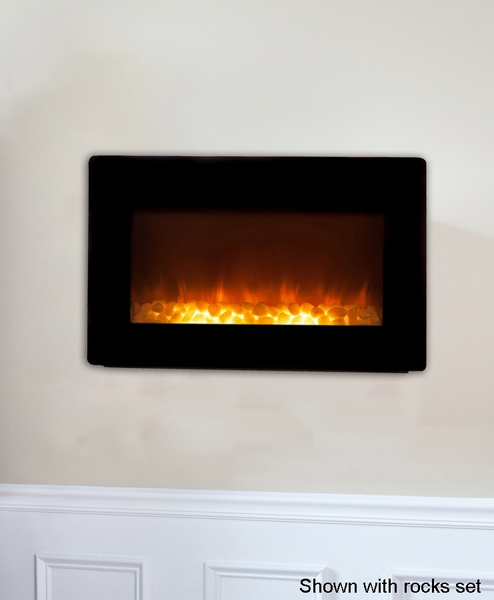 Sense Black Wall-Mounted Electric Fireplace with Heater