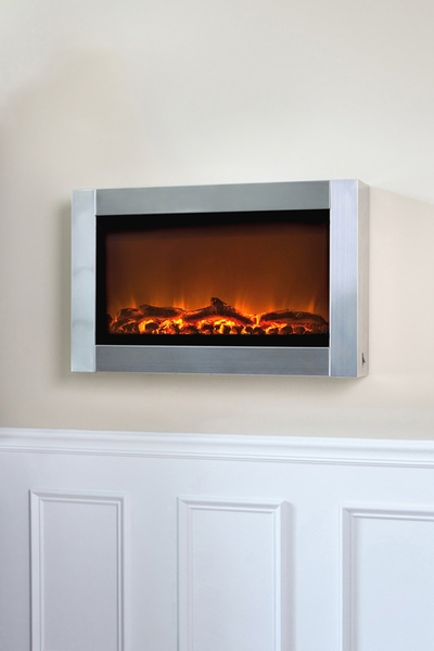Fire Sense Stainless Steel Wall Mounted Electric Fireplace With Heater