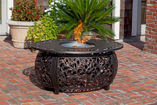Fire Sense Toulon Oval Cast Aluminum Propane Gas Fire Pit - Cast aluminum gas fire pit table