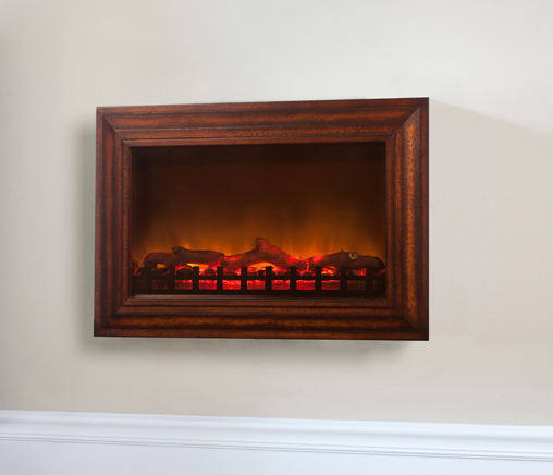Fire Sense Wall Mounted Electric Fireplace With Heater And Wood Frame