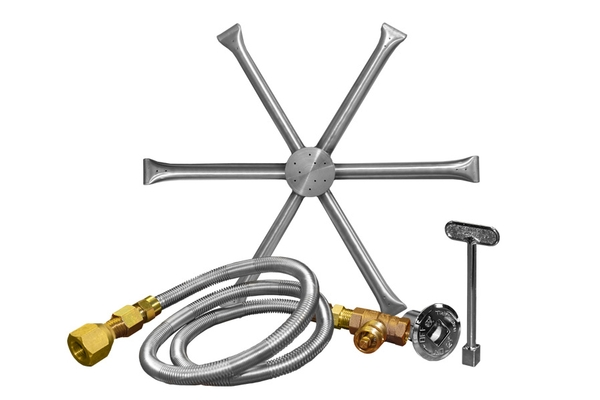 Firegear 12-inch Burning Spur Natural Gas Fire Pit Burner Kit without Pan  with Match Light Ignition - 12-inch Burning Spur Natural Gas Fire Pit Burner Kit Without Pan
