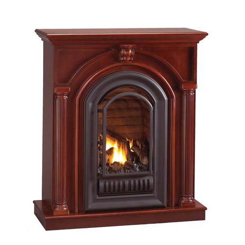 Florence Mid Height Wall Mantel With Arched Ventless Fireplace Natural Gas