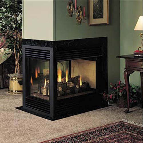 Fmi balboa 36 inch direct vent 3 sided fireplace propane for Three way fireplace