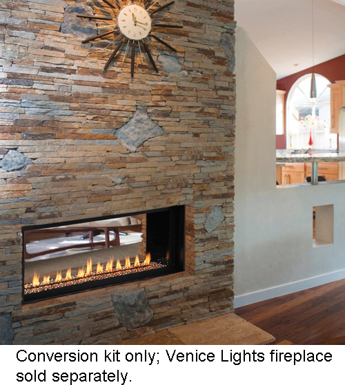 Fmi conversion kit for venice lights 43 see thru for Indoor fireplace kits