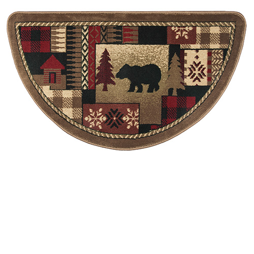 Goods of the Woods Oriental Half Round Olefin Hearth Rug with Bear Pattern - 25 Inch x 42 Inch A well-chosen hearth rug can add style to any hearth