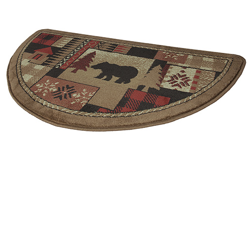 of the Woods Oriental Half Round Olefin Hearth Rug with Bear