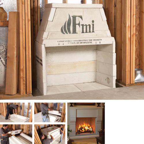 Fmi grand meridian 44 in fire box kit only for Indoor fireplace kits