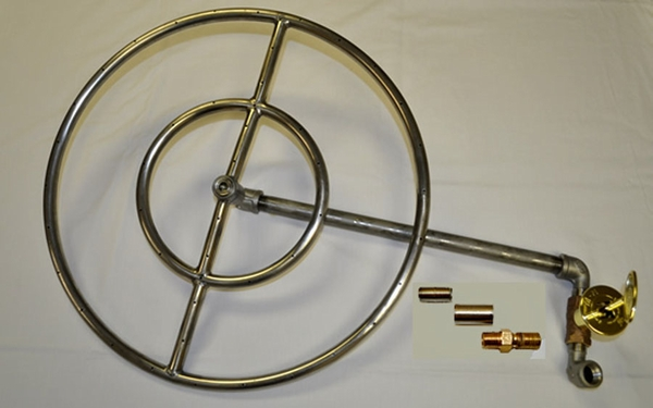 Hearth Products Controls Round Stainless Steel Match-Lit Propane Fire Pit  Insert Kit - 18 Inch - Hearth Products Controls Round Stainless Steel Match-Lit Propane