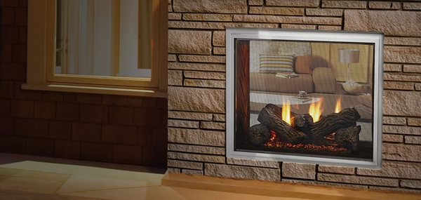 Majestic Outdoor Lifestyles Fortress Indoor/Outdoor See-Through Natural Gas Fireplace - 36 Inch Producing 55