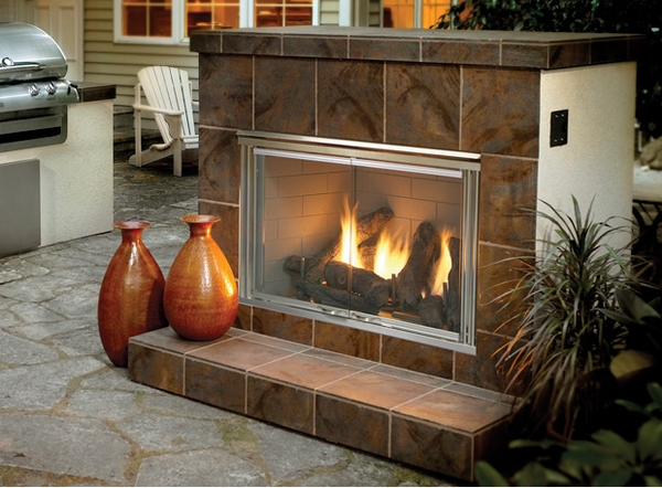 Monessen Outdoor Lifestyles Dakota 42 Inch Ventless Outdoor Gas Fireplace - Herringbone Brick