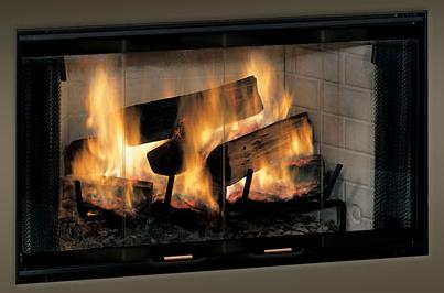 Monessen Standard Bi Fold Glass Fireplace Doors With Black Track For 42 Inch Royalton Wood