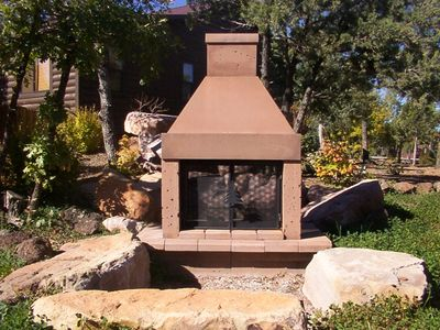 Mirage Stone See Through Outdoor Woodburning Fireplace This outdoor fireplace provides a unique experience for homeowners. The multiple color options make this an attractive outdoor heating appliance. The 360 degree viewing makes this a great addition to any outdoor patio or deck