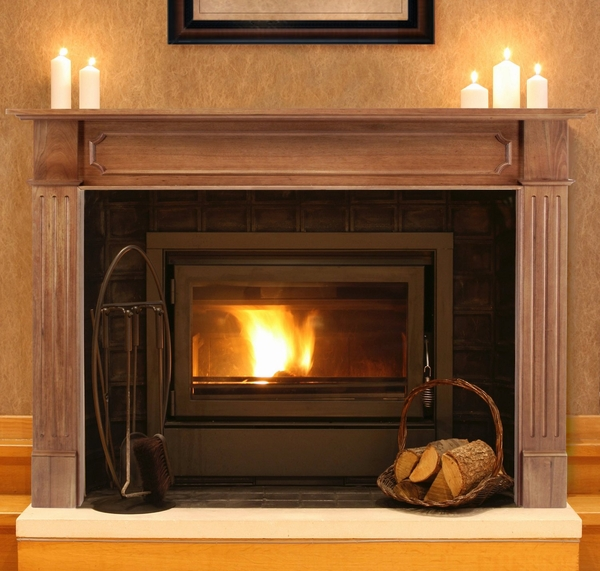 Pearl mantels 111 alamo unfinished fireplace mantel surround for Fireplace no mantle
