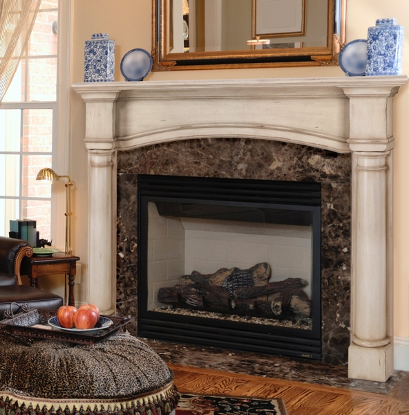 Pearl mantels 159 48 princeton 48 fireplace mantel surround for Fireplace no mantle