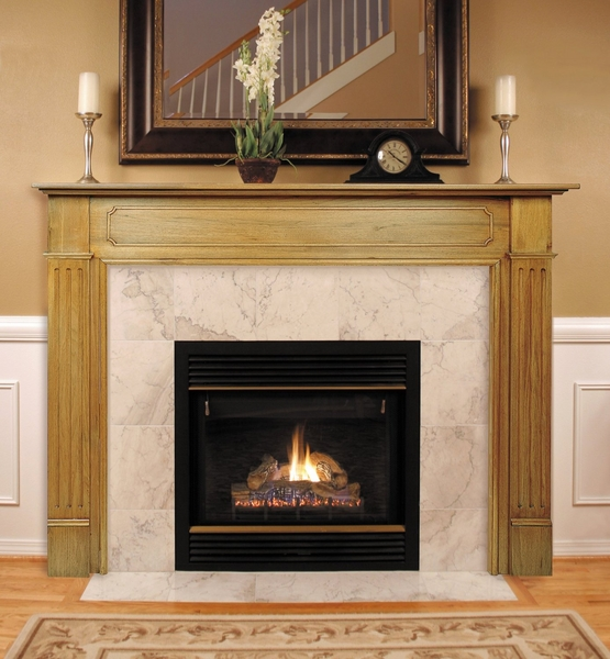 Pearl mantels 110 williamsburg unfinished fireplace mantel for Fireplace no mantle
