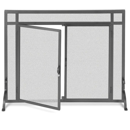 Pilgrim 39 Inch X 31 Inch Forged Iron Fireplace Screen With Straight Doors Vintage Iron