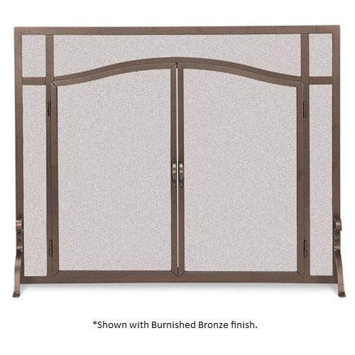 Pilgrim 44 Inch X 33 Inch Forged Iron Fireplace Screen With Arched Doors Vintage Iron