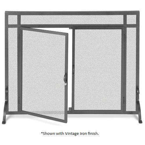 Pilgrim 44 Inch X 33 Inch Forged Iron Fireplace Screen With Straight Doors Matte Black