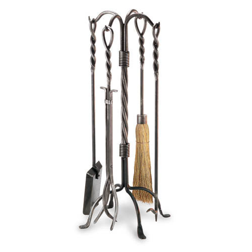 Pilgrim 5 Piece Vintage Iron Twisted Rope Fireplace Tool Set This beautiful tool set by Pilgrim makes a lovely display for your hearth and is completely functional as well. The decorative features include twisted rope handles and a decorative penny foot b