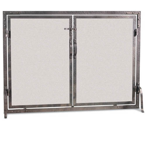 Pilgrim Old World Forged Iron Flat Fireplace Screen With Doors