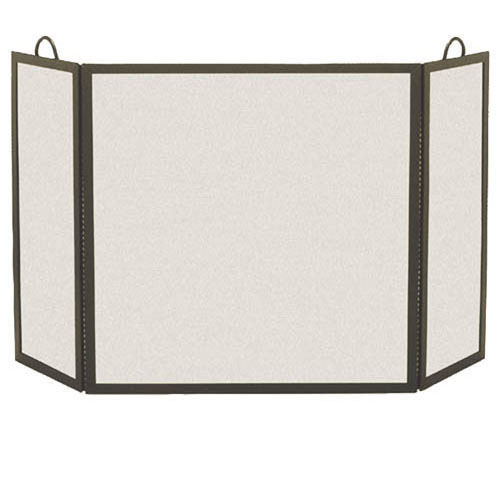 pilgrim small 3 panel matte black rectangular fireplace screen