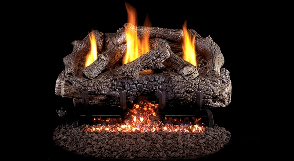 real fyre 1618 charred frontier oak ventless natural gas logs set with safety pilot kit - Real Fyre Gas Logs