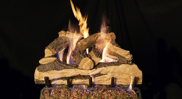 real fyre 18 split oak designer plus vented natural gas logs set match light - Real Fyre Gas Logs
