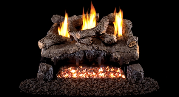 Real Fyre 24 Evening Fyre Ventless Propane Gas Logs Set With Electronic Remote Pilot Kit