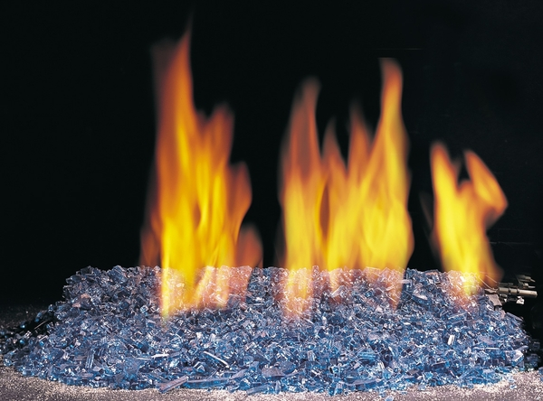 Real Fyre 24 See Thru Sapphire Blue Vented Natural Gas Fire Glass Set With Variable Flame