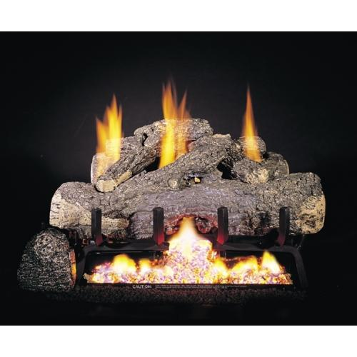 Real Fyre 30 Charred Frontier Oak Ventless Natural Gas Logs Set With Variable Flame Remote
