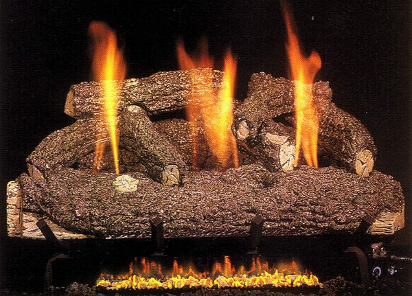 Real Fyre 30 Forest Oak Ventless Natural Gas Logs Set With On Off Remote Pilot Kit