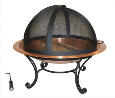 round traditional copper fire pit bowl with easy access screen - Fire Pit Bowl