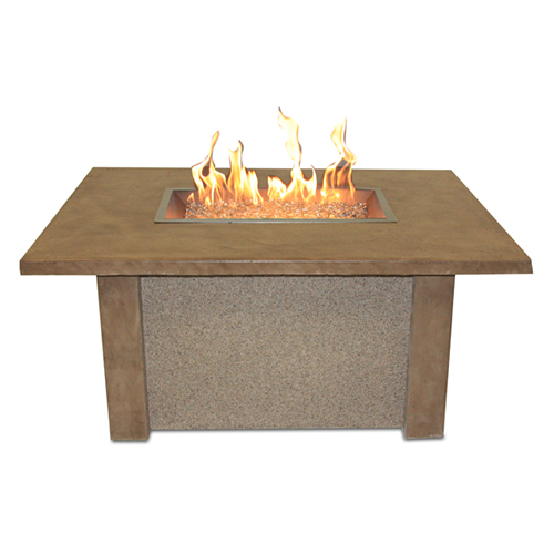 San Juan Fire Pit Coffee Table With Ameristone Stucco Base Mocha Supercast Top And 12 In X 24