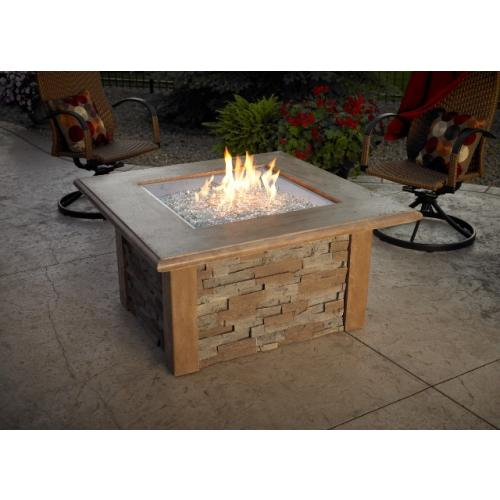 Sierra Firepit Table with Ledgestone and Supercast Top in Mocha Finish with  24 in. x 24 in. Square Crystal Fire Burner - Firepit Table With Ledgestone And Supercast Top In Mocha Finish With